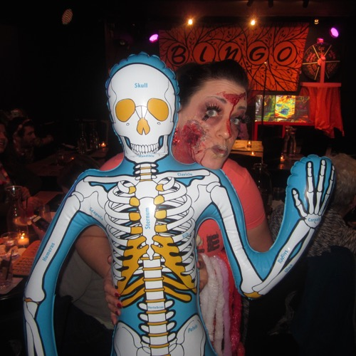 Spokesmodel Sizzle Dizzle and her bony pal.