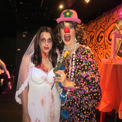 Linda clowning around with a bride from Hell!